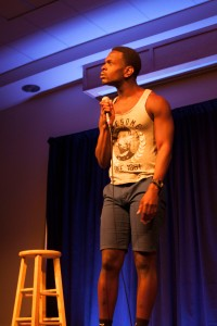Comedian Raneir Pollard preforming in the Wyoming Union on Friday night.